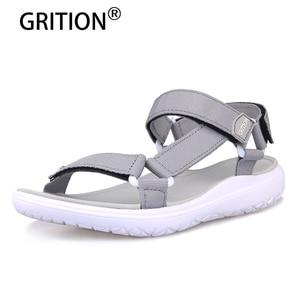 Image 1 - GRITION נשים חיצוני מהיר ייבוש שטוח סנדלי גבירותיי רך אור משקל חוף סנדלי אופנה קיץ מזדמן הליכה נעלי כחול
