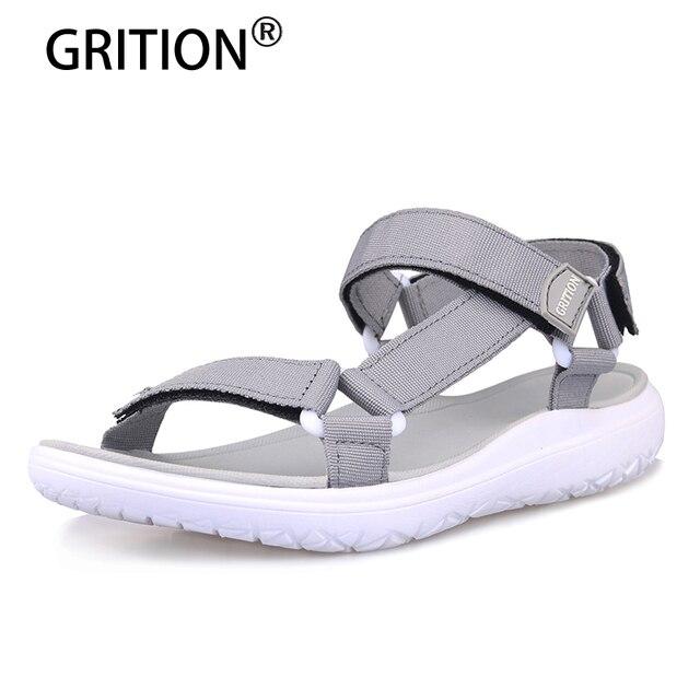 GRITION נשים חיצוני מהיר ייבוש שטוח סנדלי גבירותיי רך אור משקל חוף סנדלי אופנה קיץ מזדמן הליכה נעלי כחול