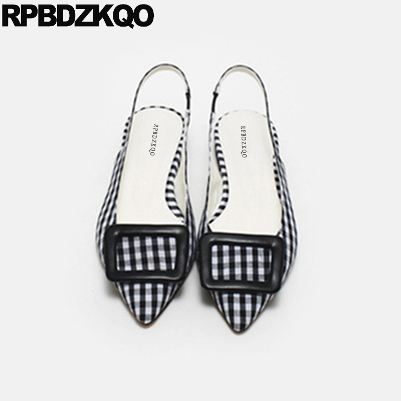 все цены на Korean Plaid Women Black And White Gingham Slingback Pointed Toe Large Size Purple 11 Flats 12 44 Sandals Wide Fit Shoes Ladies