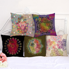 Abstract Buddha Hand Pattern Cushion Cover Cotton Linen Decorative  Pillowcase Chair Seat Square 45x45cm Pillow Cover