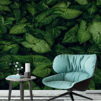 Tropical Rainforest Green Leaves 3d Wallpaper For Living Room Home Improvement Photo Wallpaper Background 3d Wall