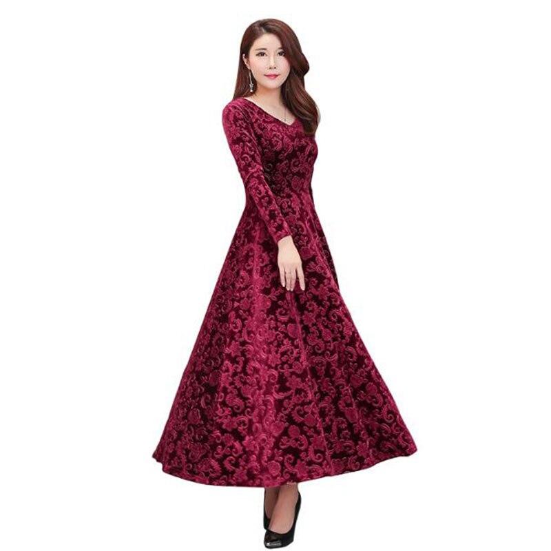 New Autumn Winter Gold Velvet V-Neck Dress Women Elegant Long Sleeve Slim Plus  Size 7906a8e6829c