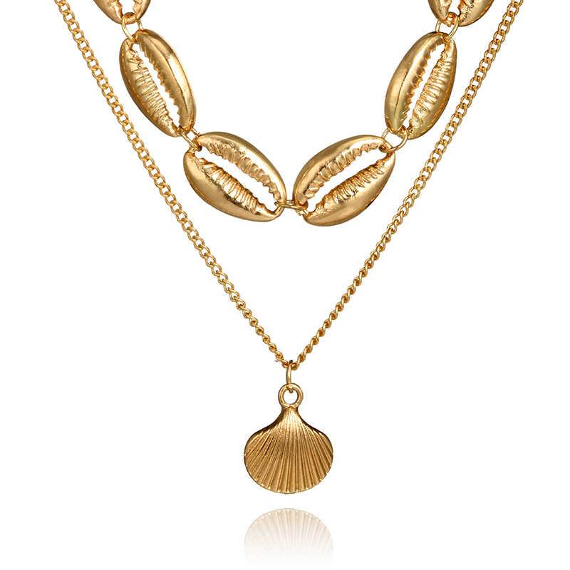 Docona Bohemia Vỏ Vàng Mặt Dây Chuyền Vòng Cổ Lớp Vỏ Dây Chuyền Vàng Dây Chuyền cho Phụ Nữ Chokers Cổ Áo Tuyên Bố Đồ Trang Sức 3616