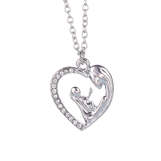 Mother And Baby Jewelry Maternity For Women Mom Gift Heart Crystal Pendant Necklace Birthday Present