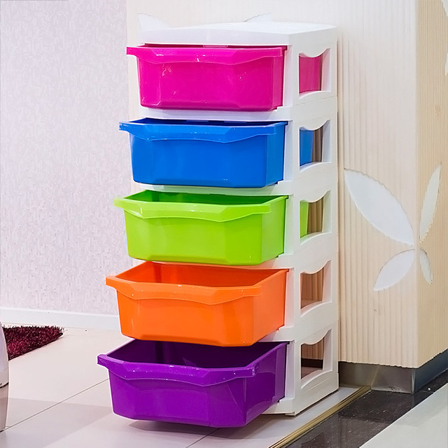 Children Colored Plastic Cabinet Drawer Storage Cabinets Baby Wardrobe Toy Cabinet  Snack Cabinet Finishing Cabinet Chest Of Draw