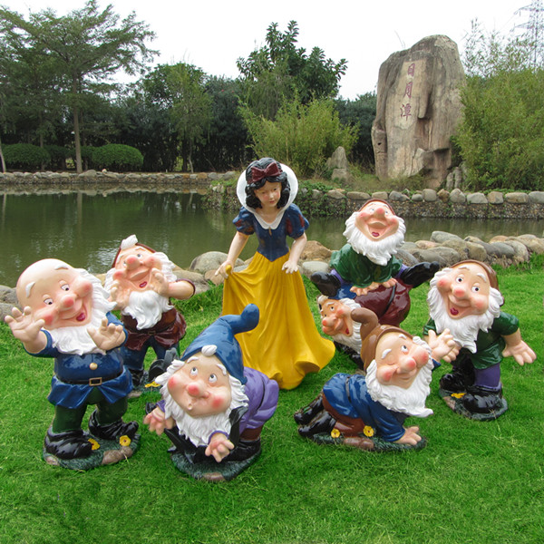 Cartoon Crafts Resin Sculpture Garden Ornaments Outdoor Nursery Statue Snow  White And The Seven Dwarfs