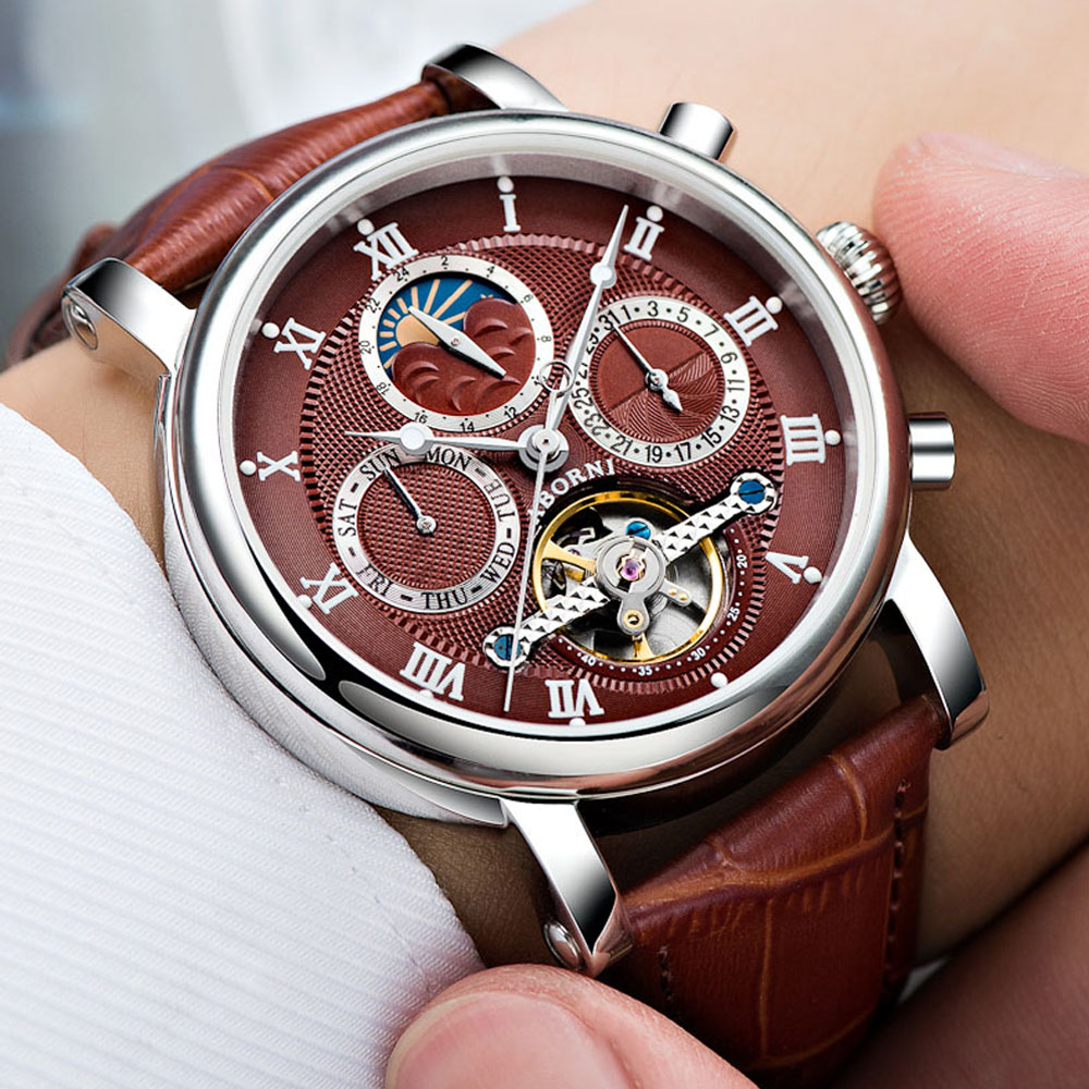 ABORNI Luxury Brand Men Watch Automatic Mechanical Creative Wrist Watches Skeleton Vintage Leather Male Clock Relogio