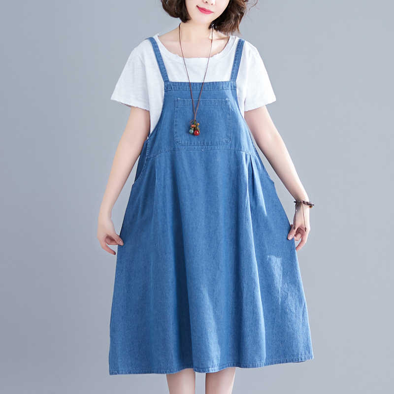 #0410 летняя одежда в стиле ретро джинсовое платье на подтяжках женские свободные плюс размер длиной до колена ТРАПЕЦИЕВИДНОЕ миди тонкое джинсовое платье женские винтажные