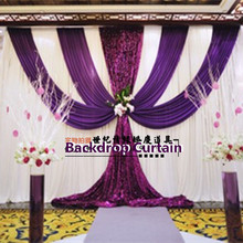 Romantic 3X6M(10FTx20FT) Wedding Backdrop Curtain Dark Purple Sequins Swag Party Background Curtains Wedding Deaoration