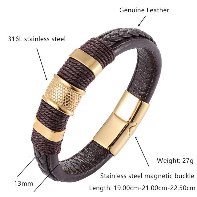 Купить 2019 брендовый браслет плетеный из натуральной кожи нержавеющей