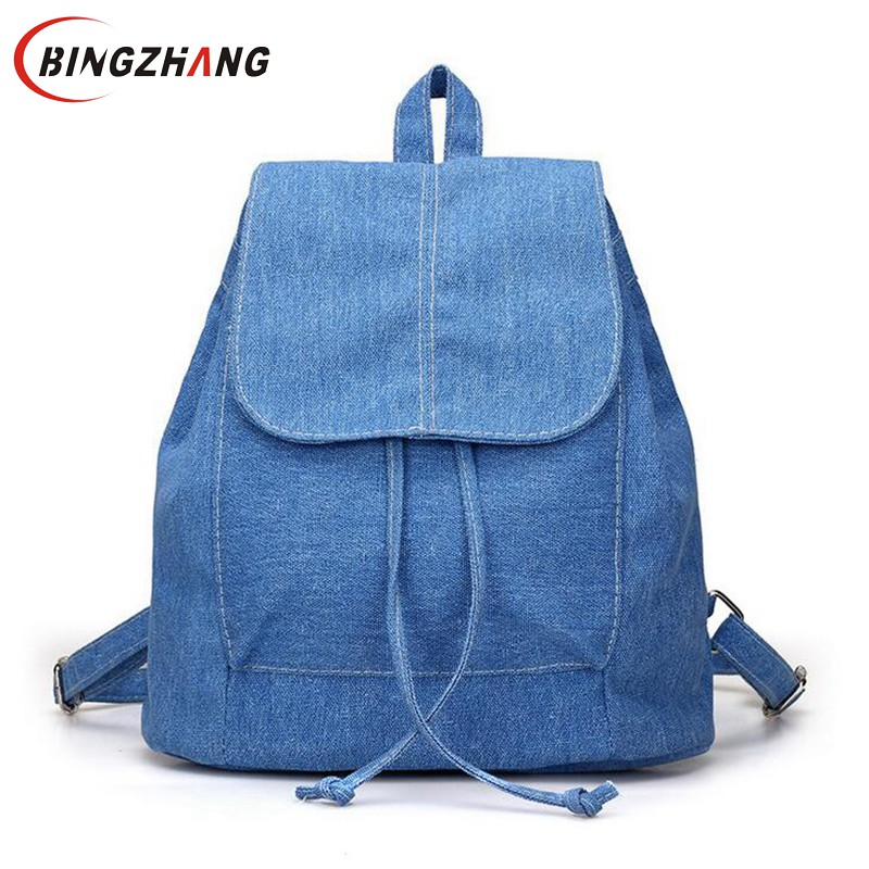 Women Denim Backpacks For Teenage Girls Small Drawstring Backpack Jeans For Teenage Sac A Dos New Solid School Rucksacks L4-2999