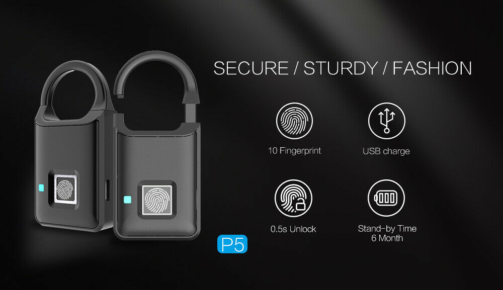 Smart Keyless Door Lock Fingerprint Padlock Biometric Waterproof ElectronicSmart Keyless Door Lock Fingerprint Padlock Biometric Waterproof Electronic