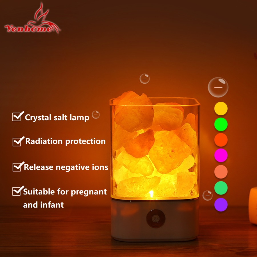 2018 New Arrival Lava Lamp Volcanic Himalayan Crystal Salts Natural Air Purifier Night Light USB Touch Dimmer Switch Desk Lights