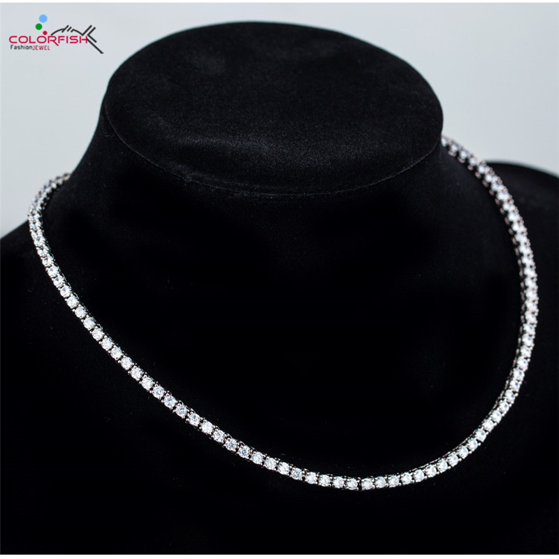 COLORFISH Prong Set 4mm Necklace For Women Jewelry Luxury White Gold Color 44cm 18inch Necklace Brilliant Round Cut Cubic ZirconCOLORFISH Prong Set 4mm Necklace For Women Jewelry Luxury White Gold Color 44cm 18inch Necklace Brilliant Round Cut Cubic Zircon