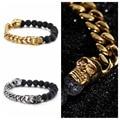 Fashion Charm Womens Men's Stainless Steel Silver/Gold Skull Lava Black Stone Charm Beaded Handmade Bangle Bracelet 8mm