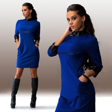 Solid Color!!!2016 summer polyester Women Three Quater Sleeve Dress PU Leather Sleeve Clubwear Dress top Hot sale!!