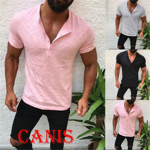 Hot Men/'s Slim V Neck Short Sleeve Muscle Tee T-shirt Casual Tops Blouses Shirts