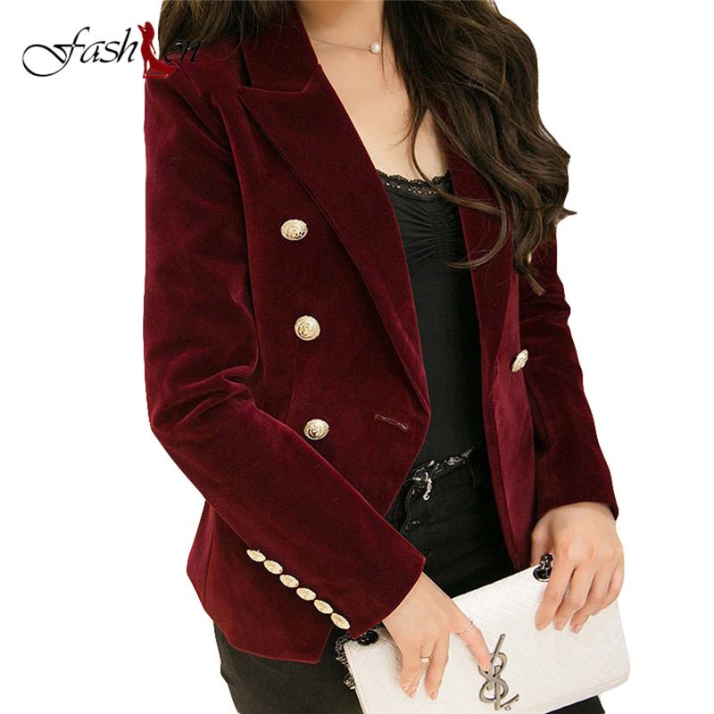 Double Breasted Lady Blazers Plus Size OL Blazer 2017 New Spring Autumn Fashion Women Midnight Navy