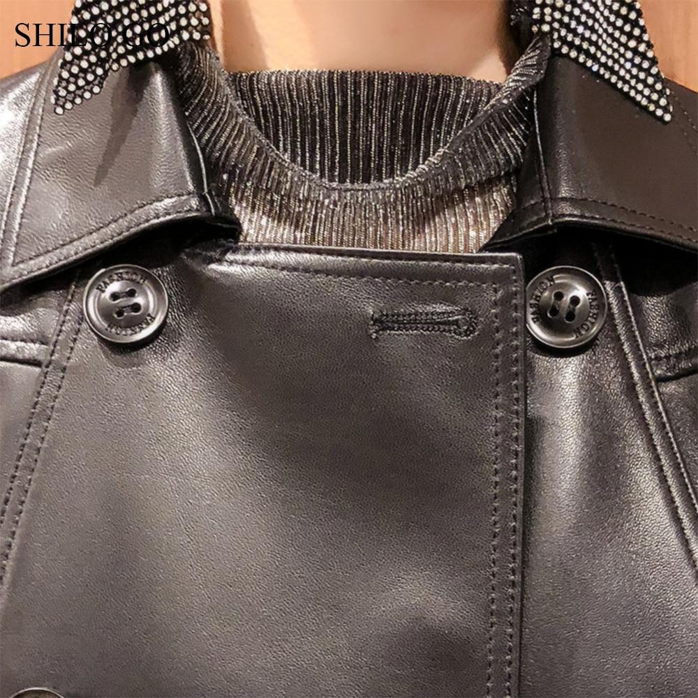 Femmes Causal Mouton Boutonnage Printemps Double De Peau Véritable Manteau À Veste Lâche En Aller Col Cuir Mode Revers Shilo ITRqW