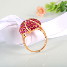 Robira Finger Rings 18K Rose Gold Jewelry Prong Setting 100% Natural Burmese Ruby and Diamond Jewelry Women's Ring