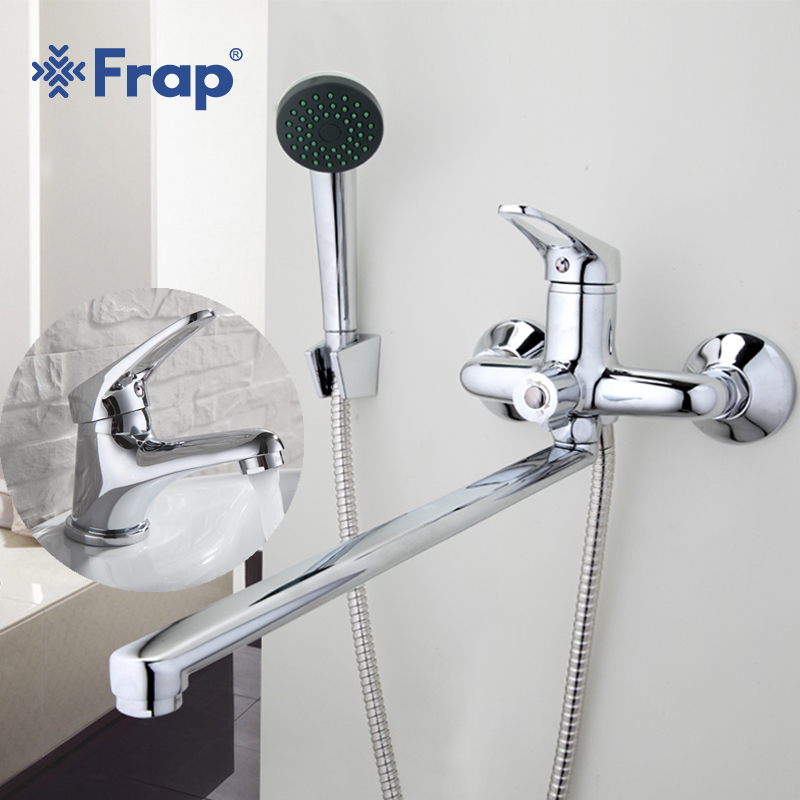 Frap New Bathroom Combination Bathroom Mixer 40cm Stainless Steel Long Nose with Mini Stylish Basin Faucet Brass F2213+F1013