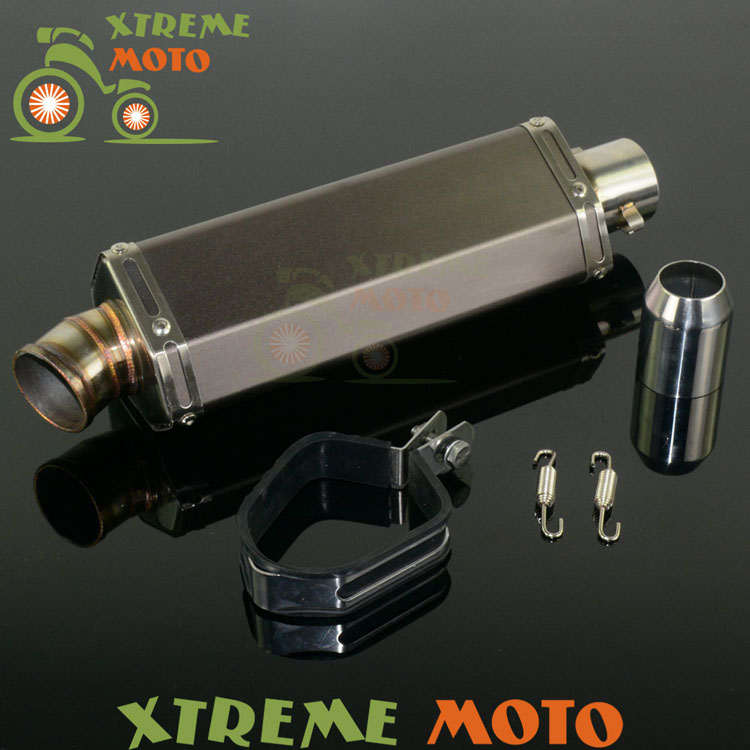 Stainless Steel Universal Hexagon 38-51MM Exhaust Muffler Pipe With Moveable DB Killer For Scooter ATV Motorcycle Dirt Bike inlet 51mm motorcycle universal exhaust muffler pipe with db killer for akrapovic large displacement steel carbon aluminum
