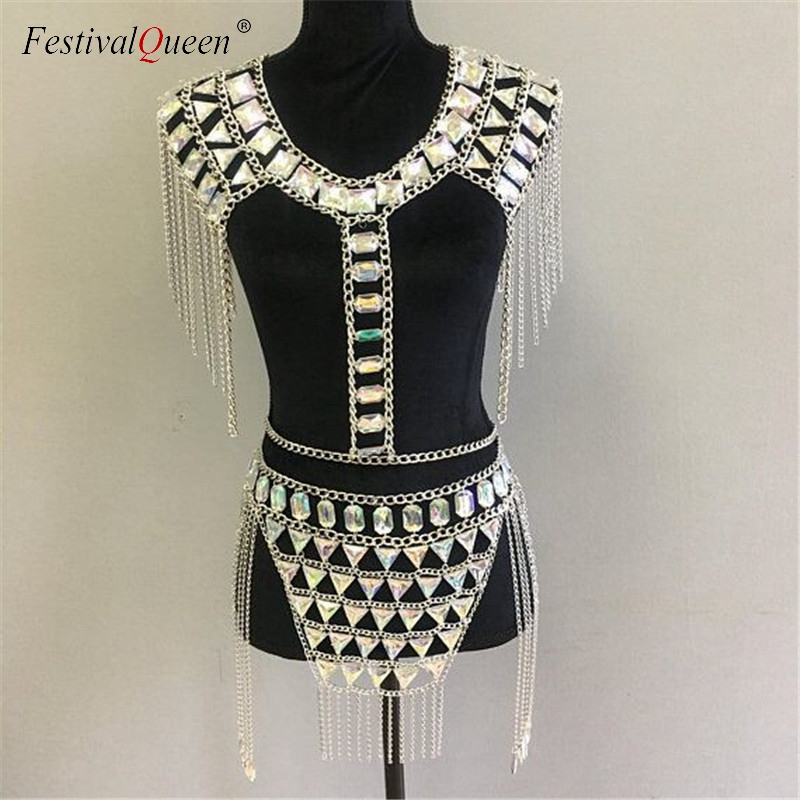FestivalQueen Crystal Gem Metal Chain Patchwork Tank Top Mini Skirts Sets Women Tassel Backless Nightclub Party 2 Pieces Set