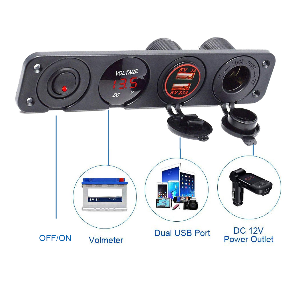 new 4 hole switch panel dual usb port cigarette lighter socket digital voltmeter switch panl 12v [ 1000 x 1000 Pixel ]