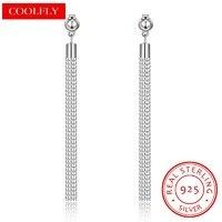Romantic 925 Sterling Silver Long Tassel Stud Earrings For Women OL Style Dress 1 0 Box