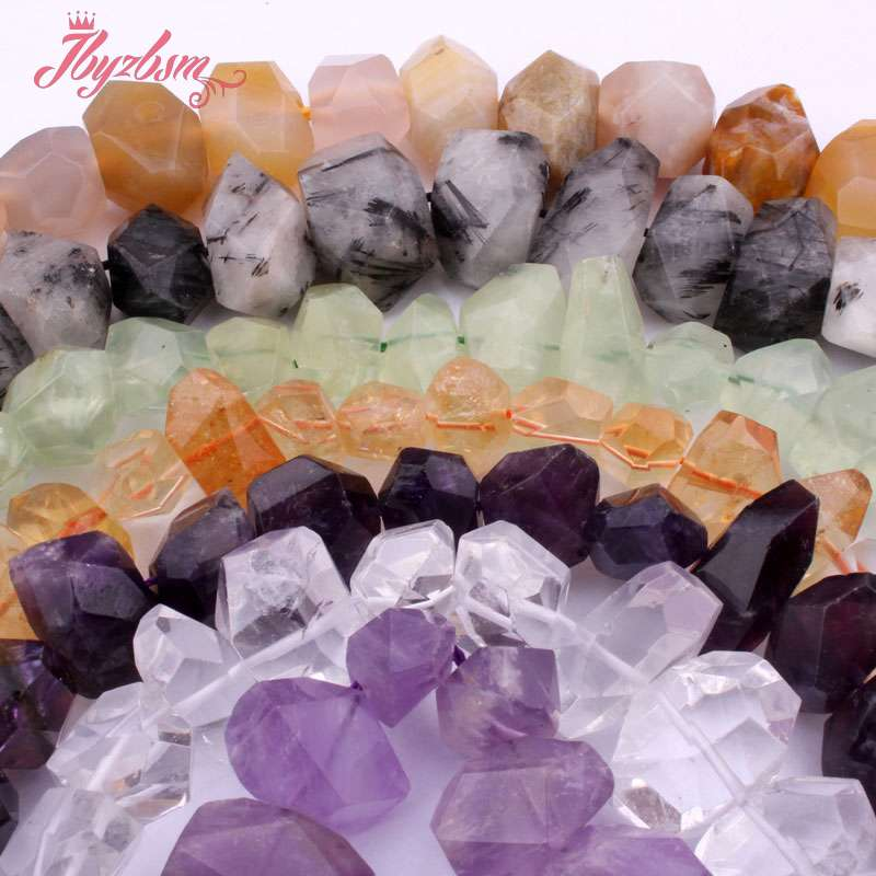 10x15-12x18mm Faceted Crystal,Agates Rutilated Bead Natural Stone Beads For DIY Necklace Earring Jewelry Making 15