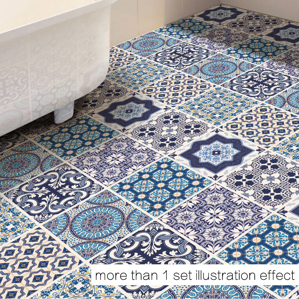 Funlife PVC Waterproof Floor Stickers Blue and White Porcelain Decor Removable Floor Sticker Art Decal Home Bathroom DB037
