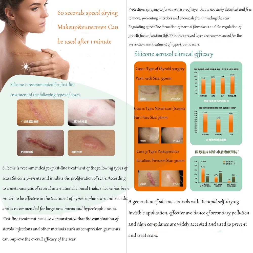 60ml Silicone Gel Scar Therapy Spray Treatment Burn Pimple Scar Removal Maternity Face Body Repair Fast Use For Sunscreen Makeup60ml Silicone Gel Scar Therapy Spray Treatment Burn Pimple Scar Removal Maternity Face Body Repair Fast Use For Sunscreen Makeup