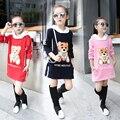 Children Clothing Мода Корейский Cute Bear Повседневная О-Образным Вырезом Футболка Девочка Одежды Осень