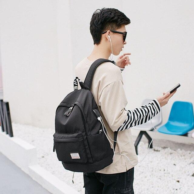 d33e2d270 Laptop Mochila de Nylon de Carregamento USB Mochilas Escolares Mochilas  Lazer Para Adolescente mochila Escolar masculino