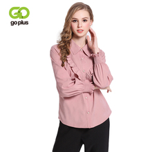 GOPLUS 2019 Spring Ruffles Pink Blouse Women Fashion Long Sleeves Shirts Ladies Vintage Streetwear Casual Clothes Female Tops