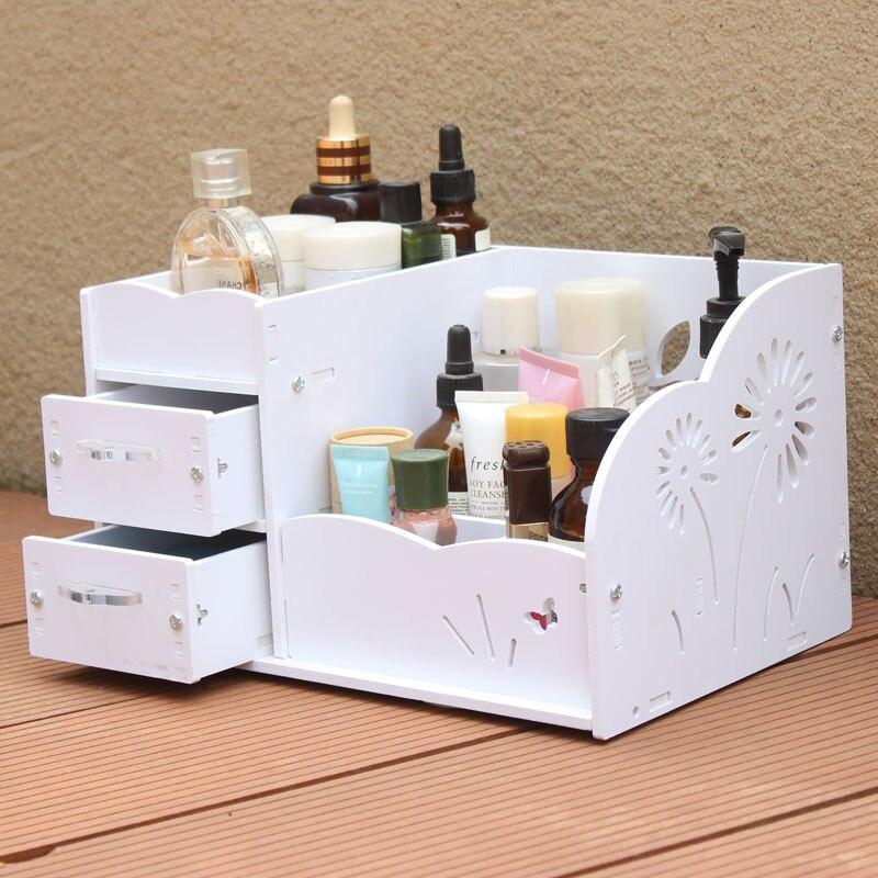 Blanc bois plastique ménage bureau boîte de rangement cosmétique cristal poignée tiroir grande coiffeuse soins de la peau Rack