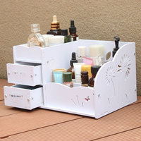 White Wood Plastic Household Desktop Cosmetic Storage Box Crystal Handle Drawer Large Dressing Table Skin Care Rack