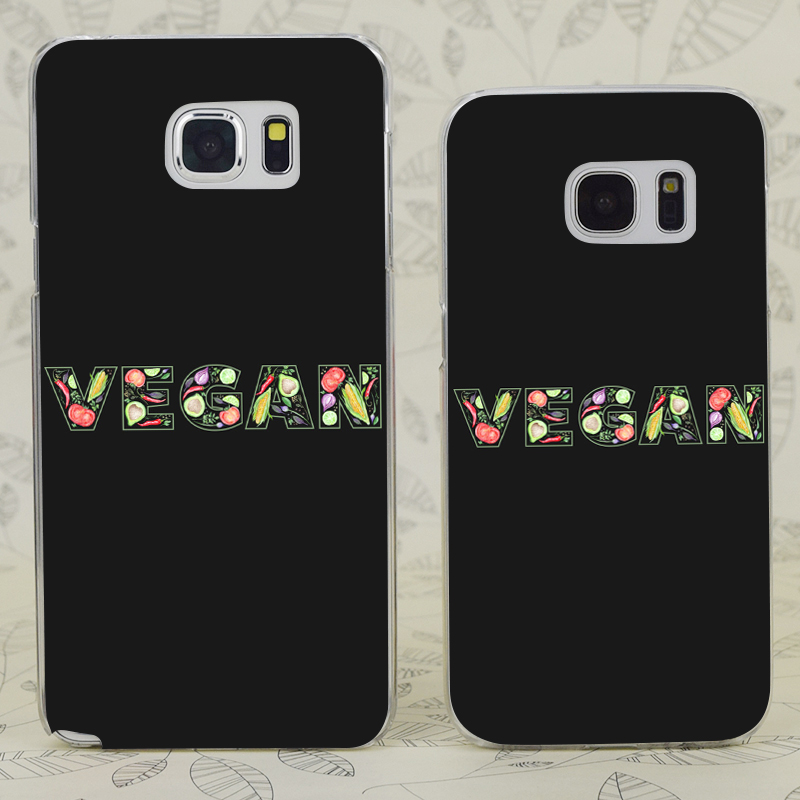 c2231 vegan lettering made of food transparent hard pc case cover for samsung galaxy s 3 4 5 6 7 mini edge plus note 3 4 5 7