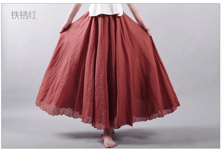 Sherhure 19 Women Linen Cotton Long Skirts Elastic Waist Pleated Maxi Skirts Beach Boho Vintage Summer Skirts Faldas Saia 43