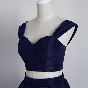 Image 5 - Simple Knee Length Homecoming Dress 2020 Two Pieces Navy Satin Homecoming Gown Prom Dress Graduation Dress vestido de formatura