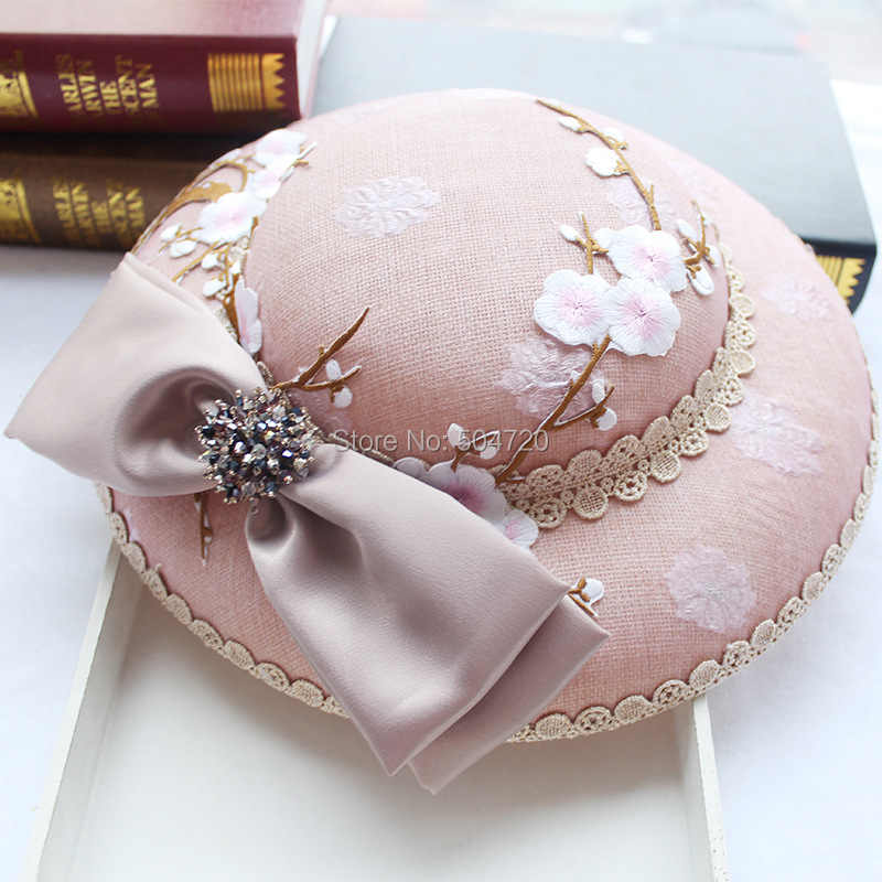 4d87b0a439c83 Luxs Wedding Pink Antoinette Flower Fascinator Caps Women s Victorian dress  Hats Formal Church Hat