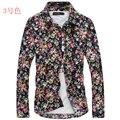 Autumn New! Men's Long Sleeve Shirt  Floral Design Shirt Plus Size XXXL