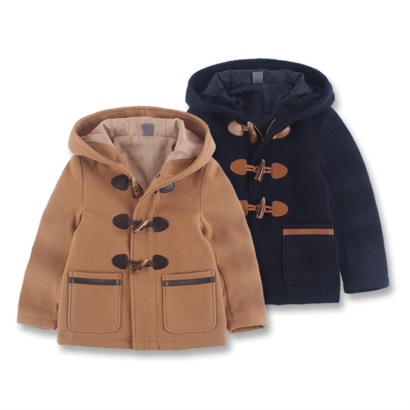 2018 fashion baby boy clothes autumn and winter style kids jackets long sleeve single-breasted boys outwear hooded woolen coat