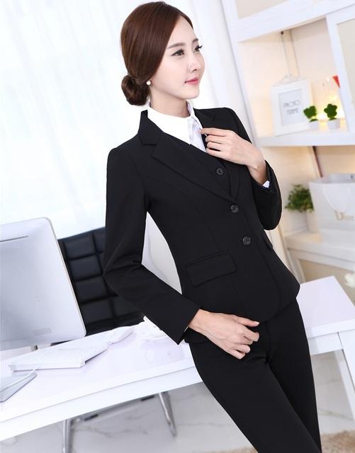 2015 Outono Inverno Trabalho Negócios Profissional Ternos Blazers Jaquetas E Calças de Design Uniforme Escritório Senhoras Calças Conjuntos Outfits