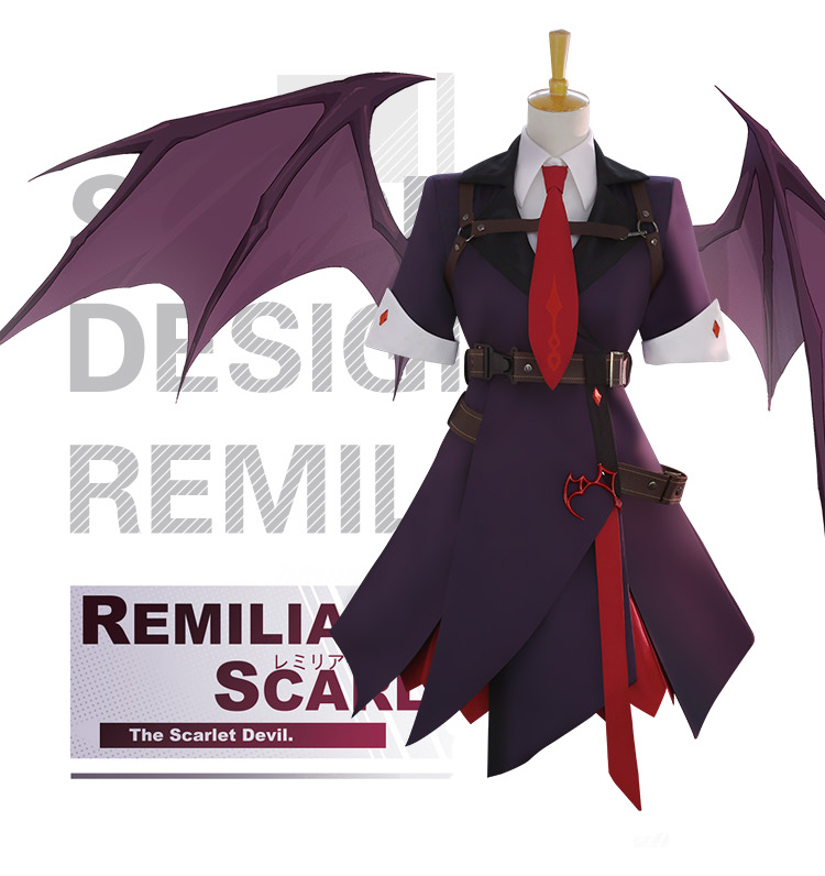 Anime! Touhou Project Remilia Scarlet The Scarlet Devil Gothic Dress Uniform Cosplay Costume August 2018 New Free Shipping