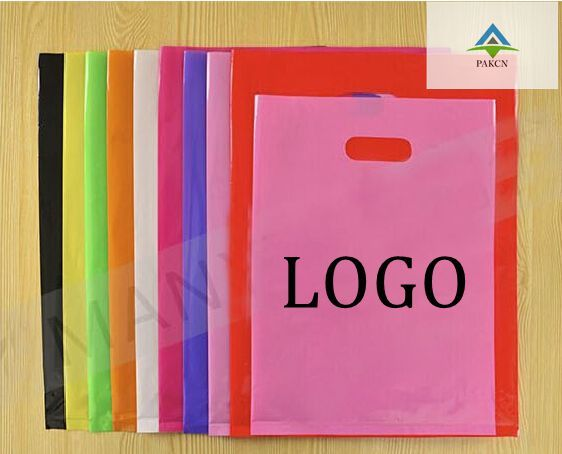 20*25CM custom free design logo packing bag/ Plastic Bag  glasses Hat Cloth makeup Handing shopping pouches
