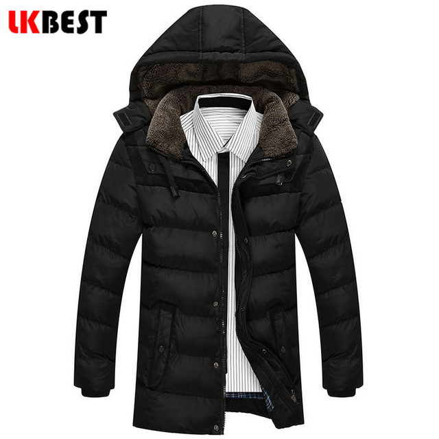 LKBEST 2017 New men Down Coat Thick Warm Men Winter Coat Leisure Wear hooded fashion Men Parka plus size male overcoat  (PW623L)
