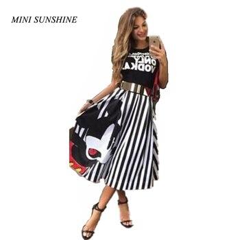 fd47104f2 Verano de 2019 las mujeres Mickey vestido Maxi a rayas vestido de cintura  alta Kawaii mujer elegante plisado playa vestido Midi z40