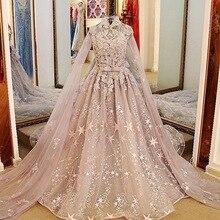 Muslim Lace Applique Beading Bridal Wedding Gowns Robes De Maree Islamic Arabic 2017 High Neck Long Sleeves Wedding Dresses