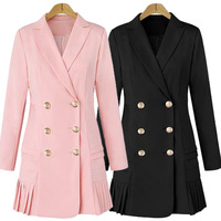 Fashion Double Breasted Woman Black Dress Lady Pink Blazer Dresses Plus Size 2019 Spring Summer Bodycon Female Dress Suit